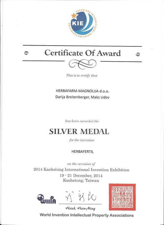 Srebrna medalja – Kaoshiung International Invention Exhibition 2014.