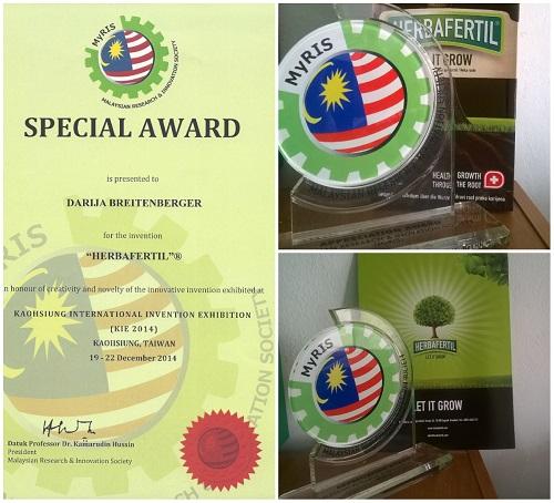 Priznanje – Malaysian research & innovation society 2014.