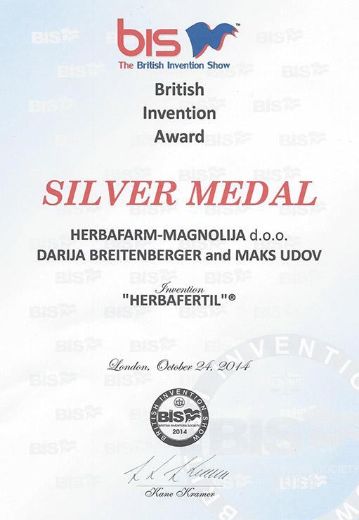 Srebrna medalja – British Invention Award 2014.